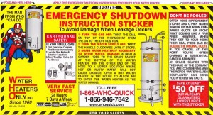 Water Heaters Only Inc shut down sticker