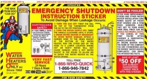 Water Heaters Only Inc shut down sticker
