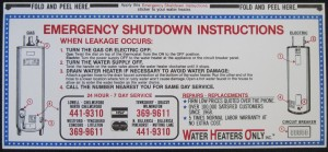 Water Heaters Only Inc 1980 shut down instructions